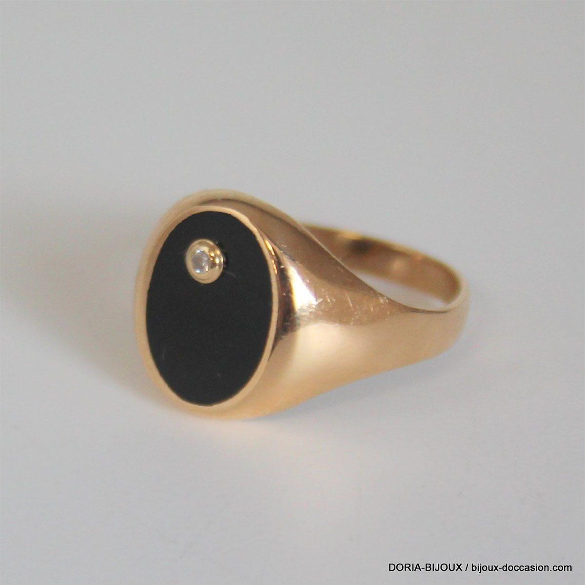 Bague Chevalière Or 18k 750 Onyx Diamants -4.5grs