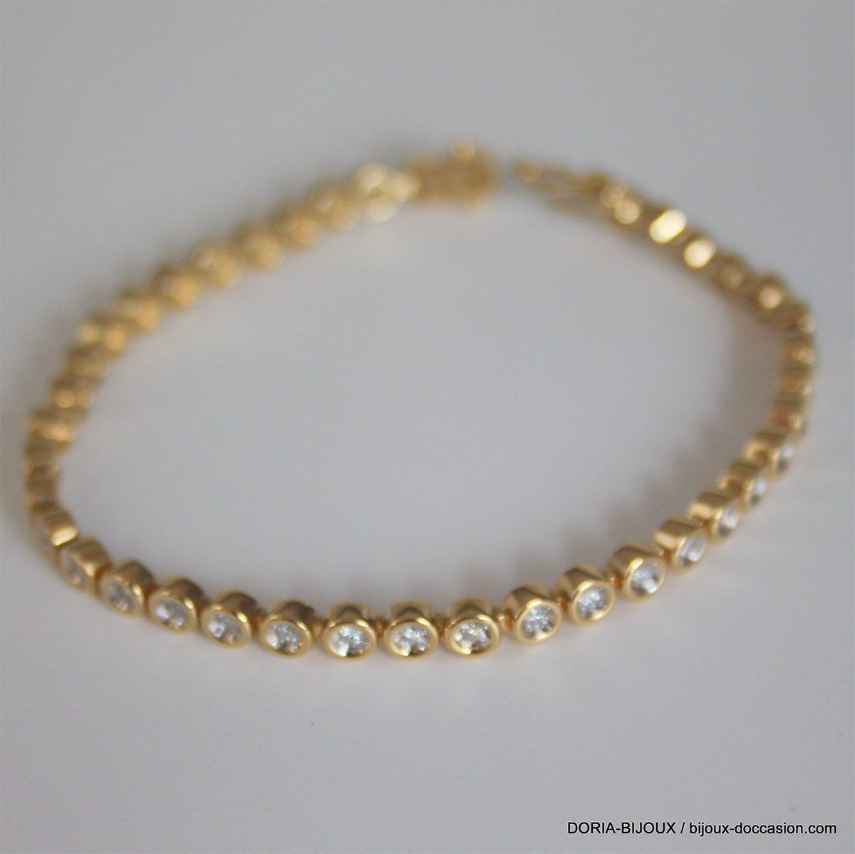 Bracelet Rivière De Diamants Or Jaune - 16.10 Grs