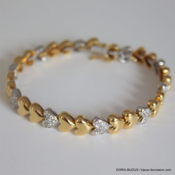 Bracelet Coeur Or Bicolore 18k 750 Diamants - 26.90g