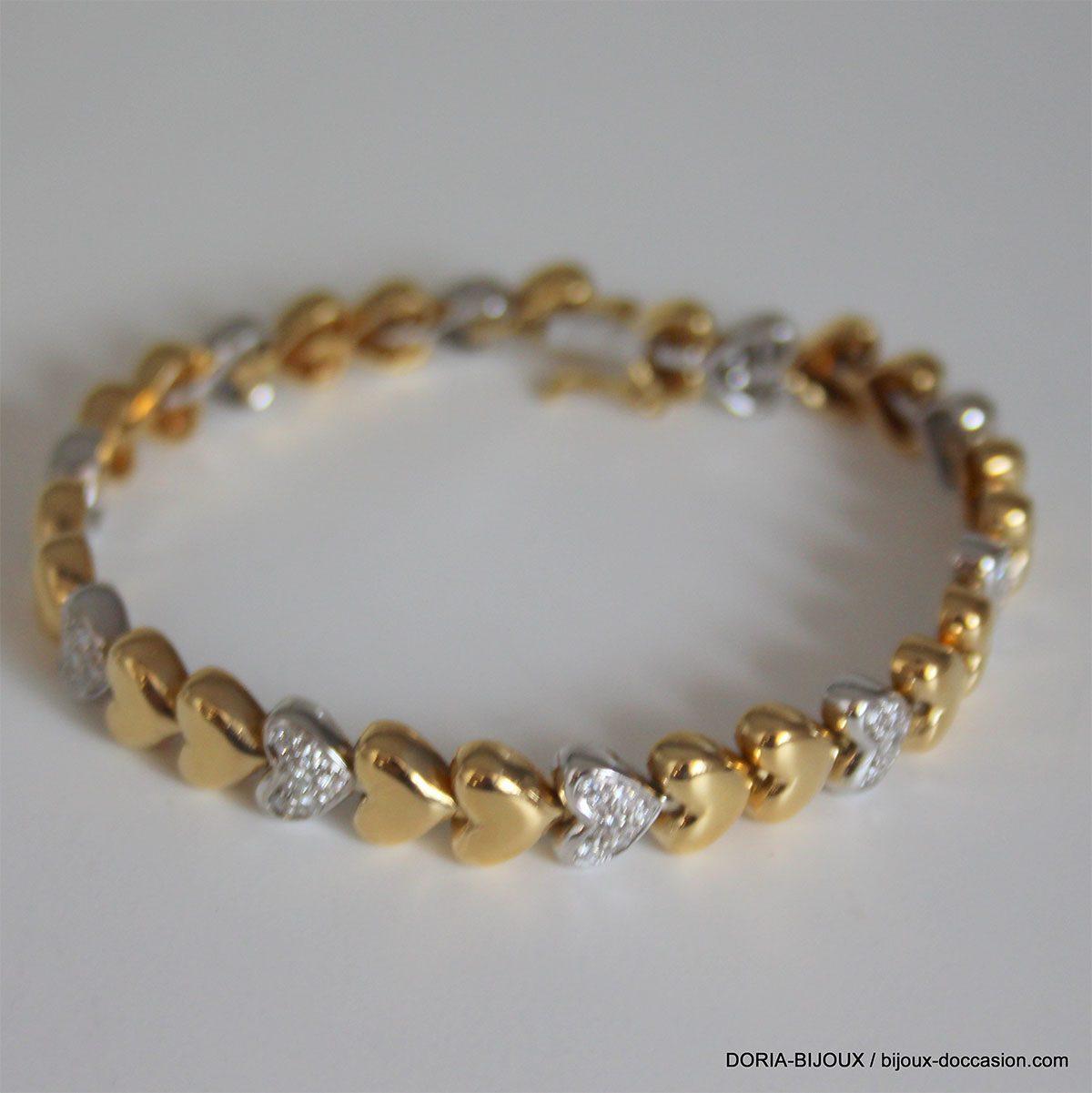 Bracelet Coeur Or Bicolore 18k 750 Diamants - 26.90g
