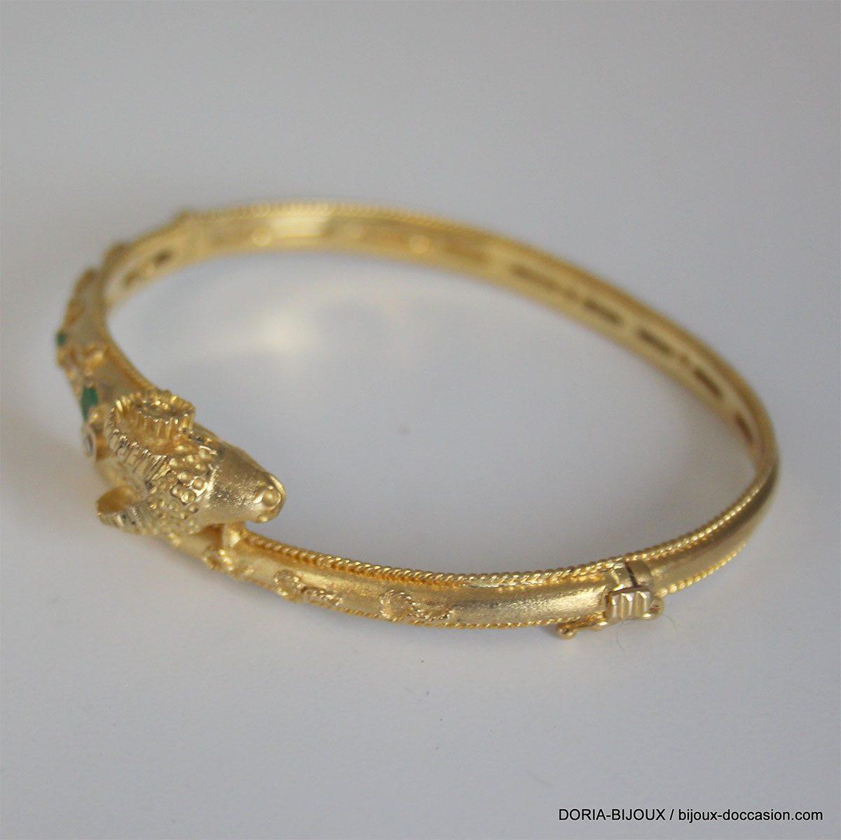 Bracelet Jonc Ouvrant Tête De Bélier Emeraude -20.30