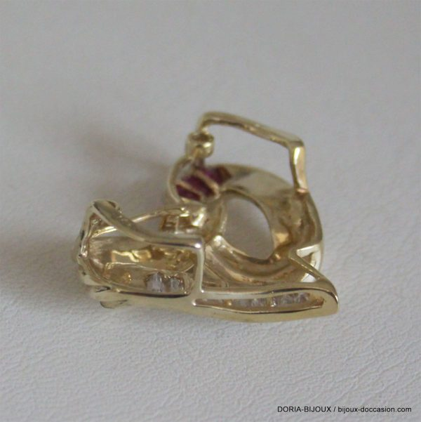 Pendentif Coeur Or 18k Rubis Et Diamants 7.3grs