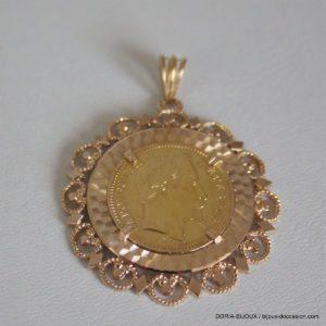 Pendentif Or 750 Porte Piece + Napoleon 12.10grs