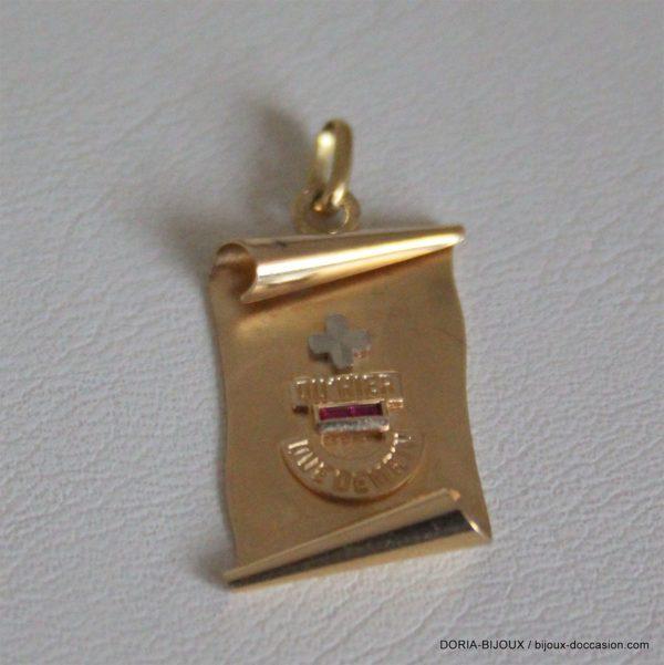 Pendentif Plaque Parchemin Or 18k 750/000 - 1.8grs