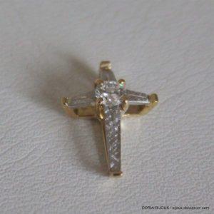 Pendentif Croix Or 18k 750 Platine & Diamant 1.1grs
