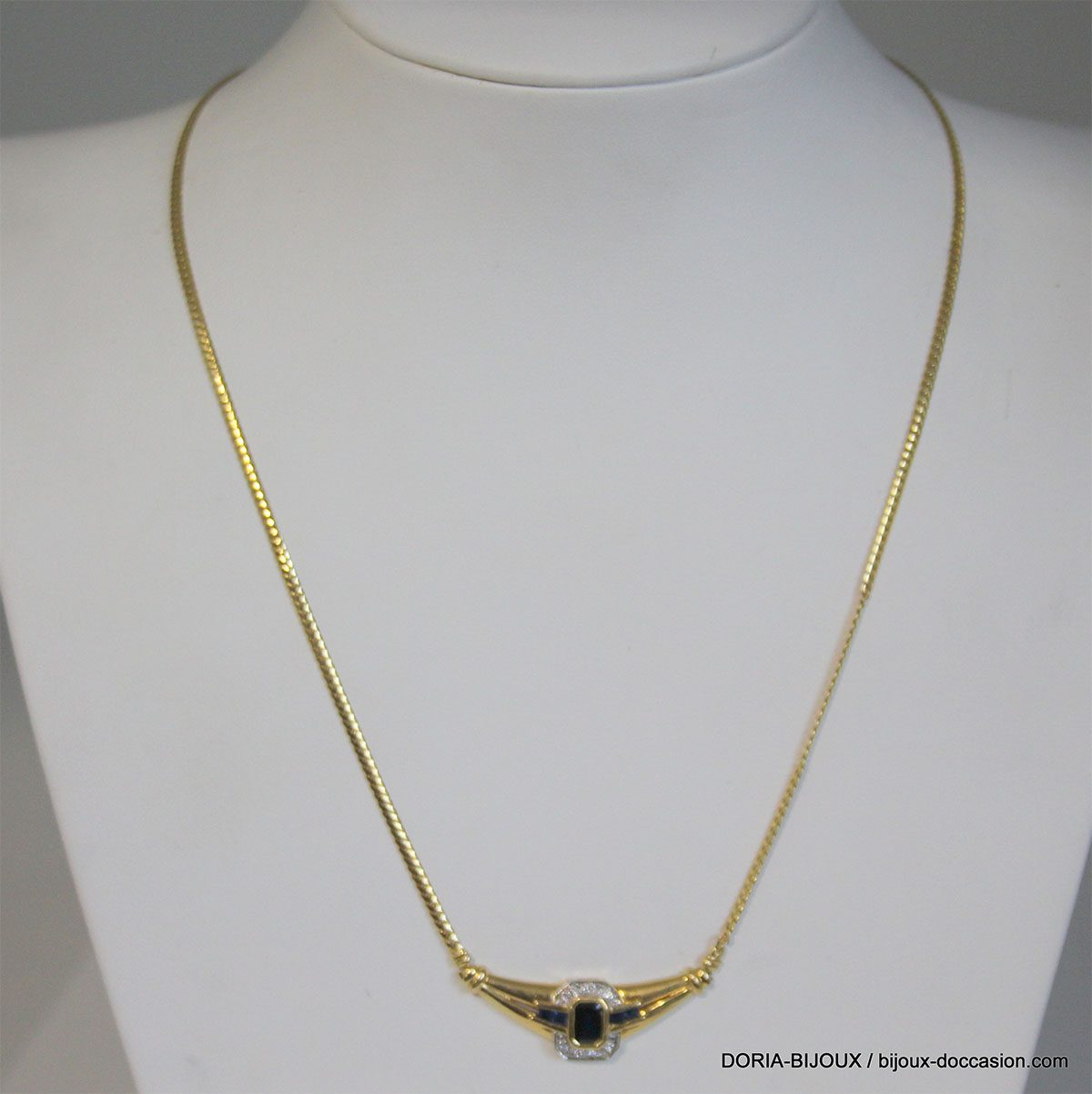 Collier Or Jaune Saphir Diamant - 8.3grs