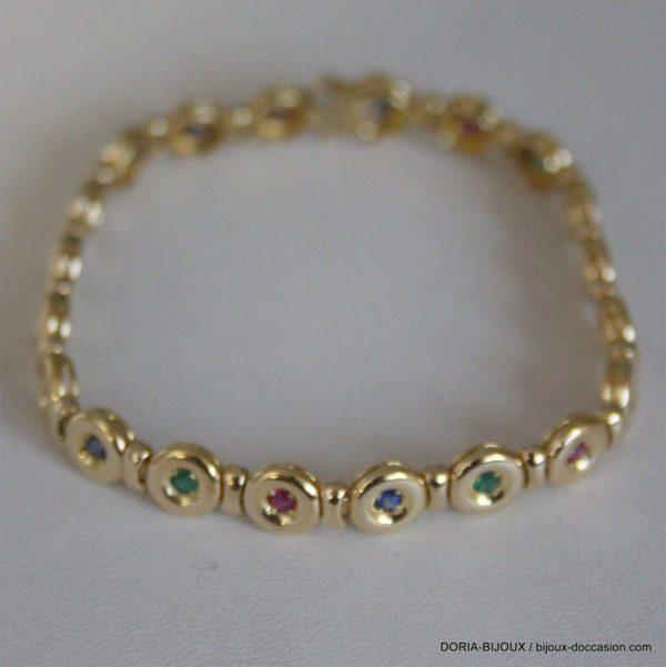 Bracelet Or 750 18k Rubis/Saphirs/Emeraudes  17.8grs