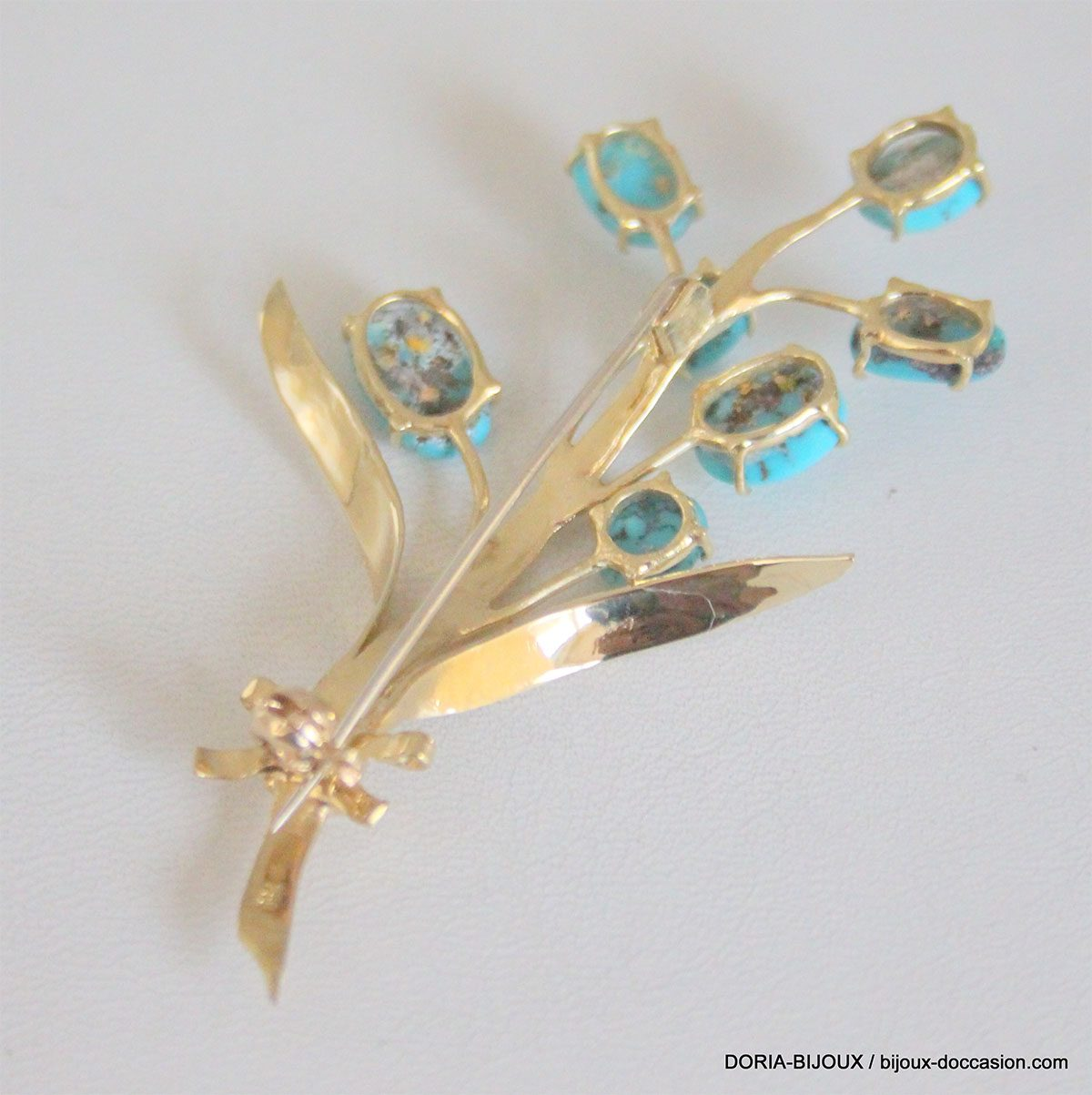 Broche Or 18k 750 Turquoise 12.5grs