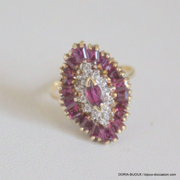 Bague Or 14k 585 Rubis Diamants 5.2 Grs -53