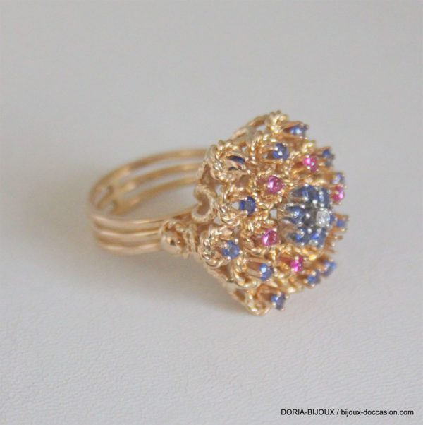 Bague Vintage Or 750 Saphir Rubis  11.9grs -55