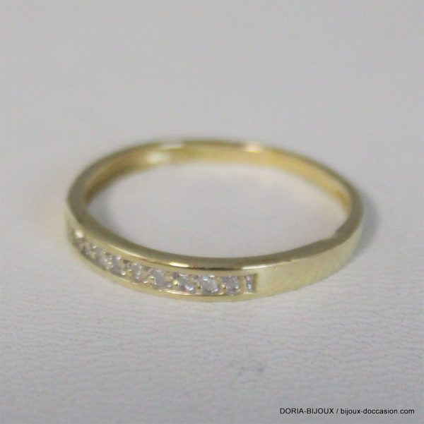 Bague Or Jaune 18k 750- 9 Diamants- 1.5grs - 51