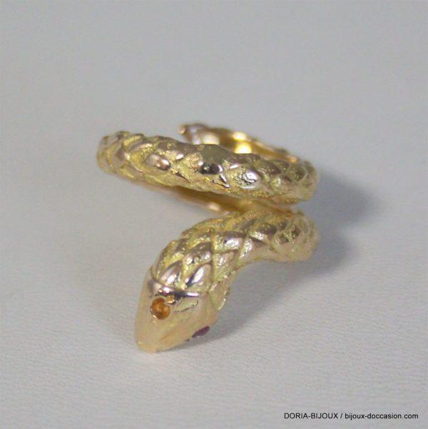 Bague Serpent Or 18k 750  Rubis 7.7 Grs -50