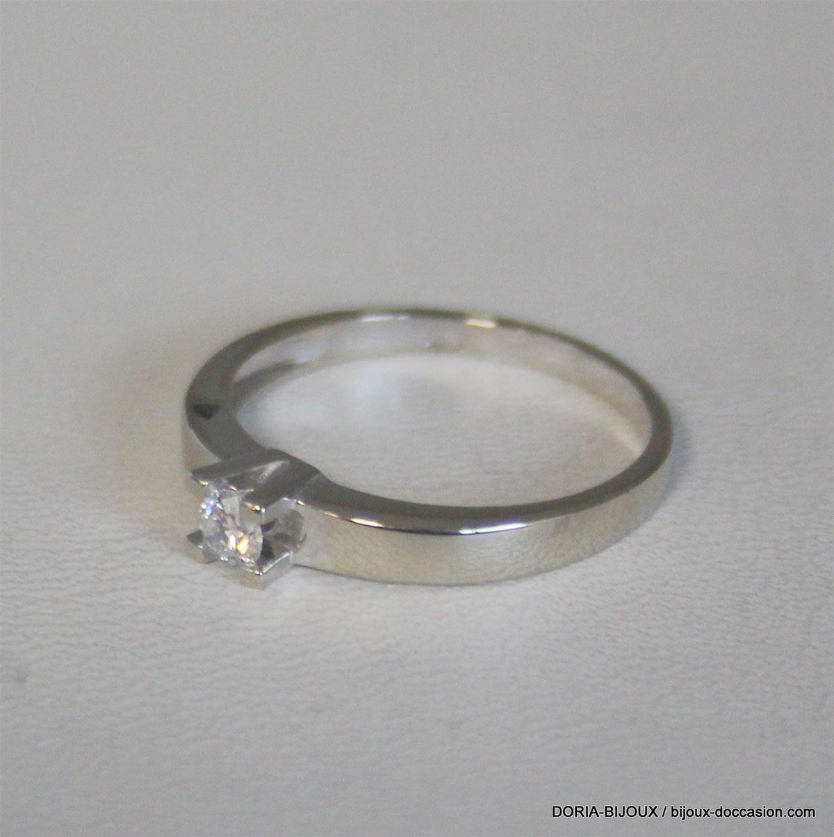 Bague Solitaire Or 750 Diamant 0.13cts 2.4grs -54