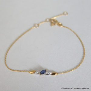 Braclet Or 18k, 750 Saphir Diamants 1.40 Grs