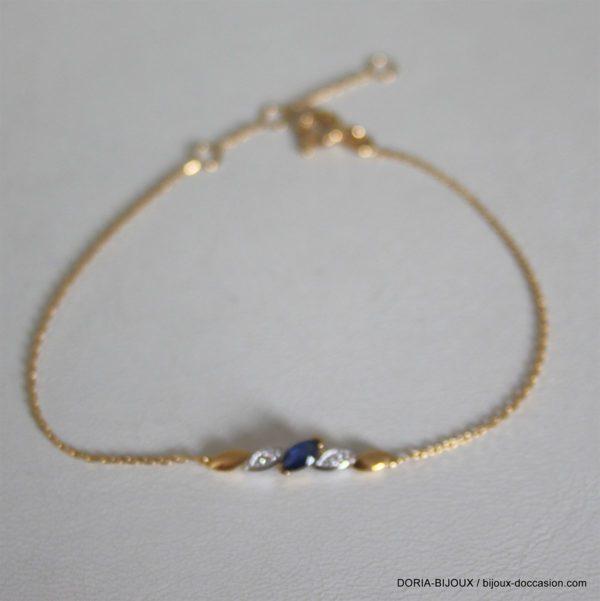 Braclet Or 18k, 750 Saphir Diamants 1.40 Grs