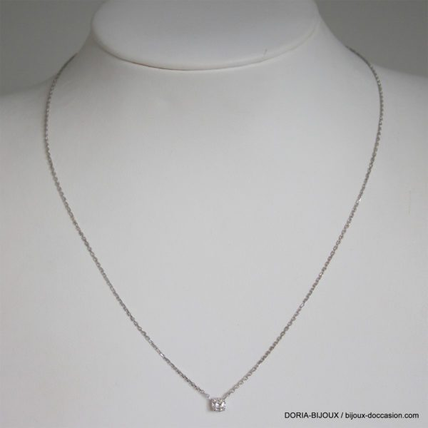 Collier Or Gris 18k 750 Diamant 0.26cts -2grs