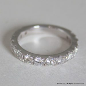 Bague Or Gris 750- Demi Tour15 Diamants- 4.8grs -54