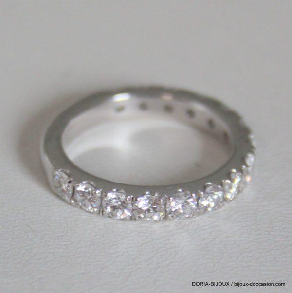 Bague Or Gris 750- Demi Tour15 Diamants- 4.8grs -54