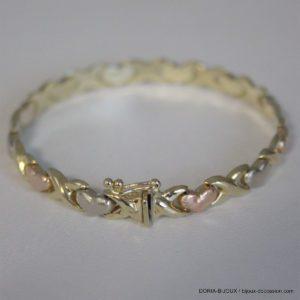 Bracelet Or 585 14k Maille Alternée 19cm 1.9grs