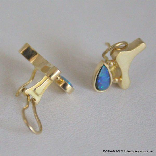 Boucles D'oreilles Clip Or 18k, 750 Opale - 5.6grs