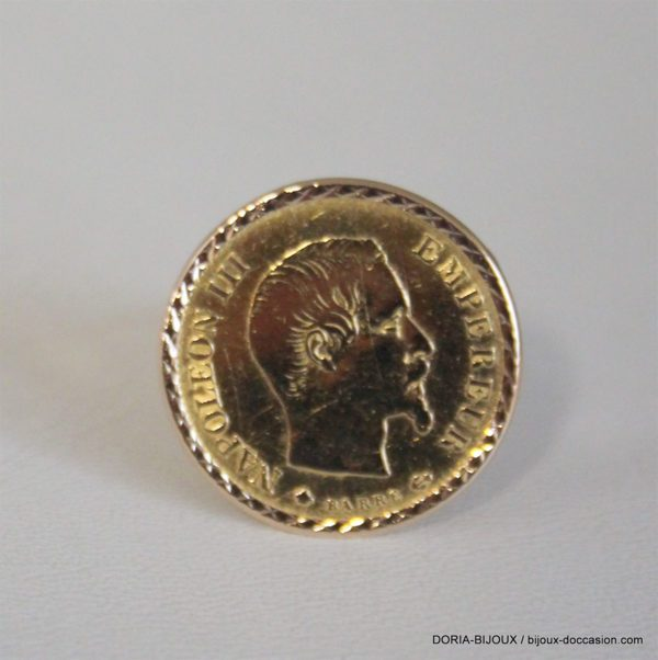 Bague Or 18k Porte Piece 10 Francs Or - 5.8grs