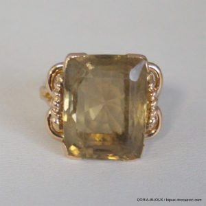 Bague Vintage Or 18k 750 Quartz Brun  10.5grs - 56