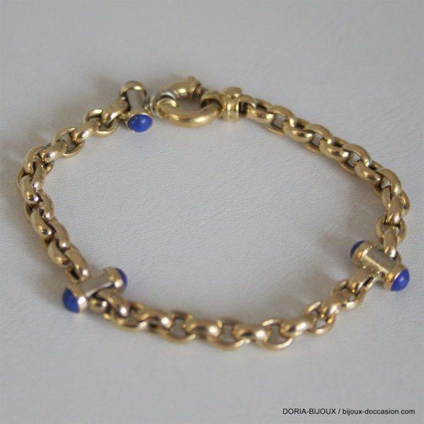 Bracelet Or 750/000 Jaune  Maille Jaseron 6 Saphir Cabochon
