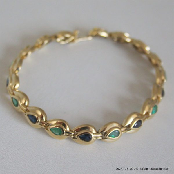 Bracelet Or 750/000 Jaunecompose De 9 Emeraudes Et 9 Saphirs
