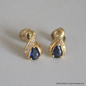 Boucle Doreille Or 18k 750 Saphir Diamant