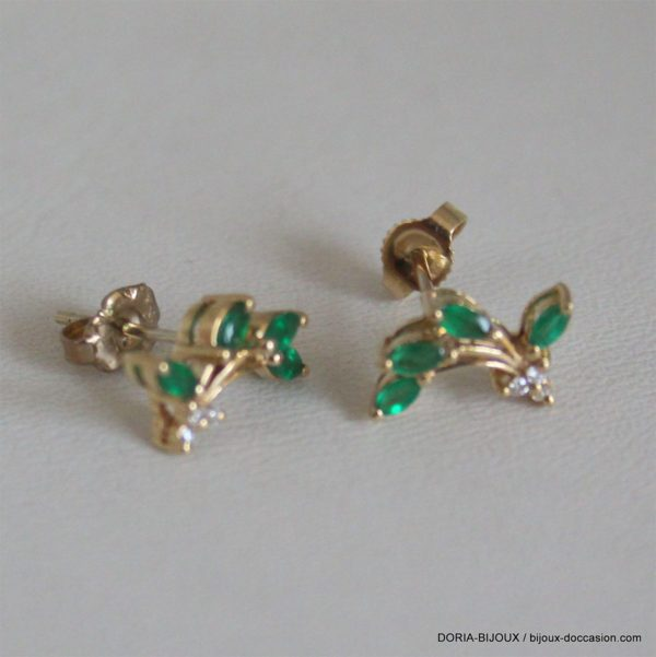 Boucles  Or 18 750 Emeraude / Diamants