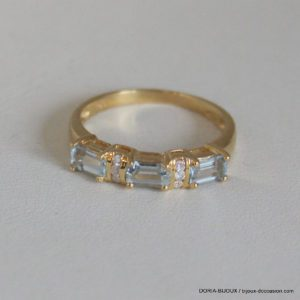 Bague Or 18k 750 Aigue Marine Diamant
