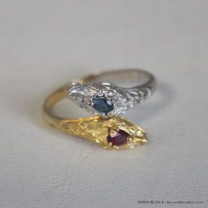 Bague Or Jaune 18 K 750 Serpent Saphir Rubis