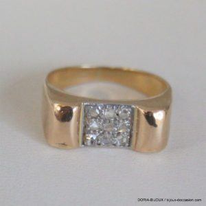 Bague Or 18k 750- 9 Diamants- 4.7grs -52