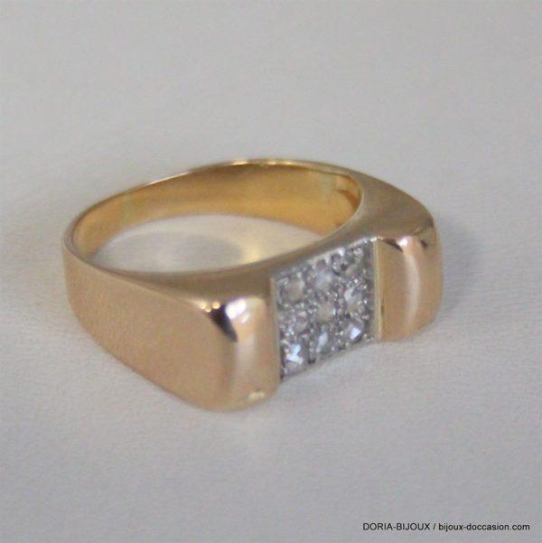 Bague Or 18k 750- 9 Diamants- 4.7grs -52