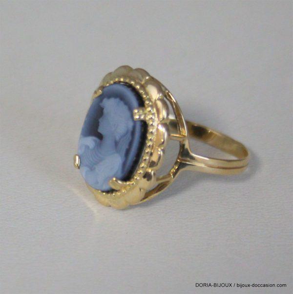 Bague Camee Bleu  Or Jaune 18k 750/000 3.2grs