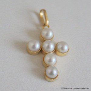 Pendentif Croix Or 750 18k, Perles  1.8 Grs