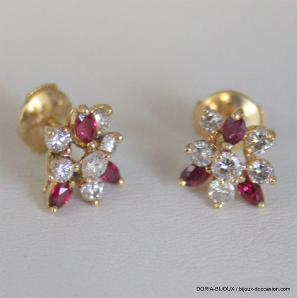 Boucle D Oreille  Or 750 Carat Rubis Diamants