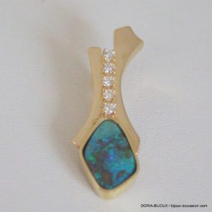 Pendentif Or Jaune 18k 750 Opale Diamants 5.5grs