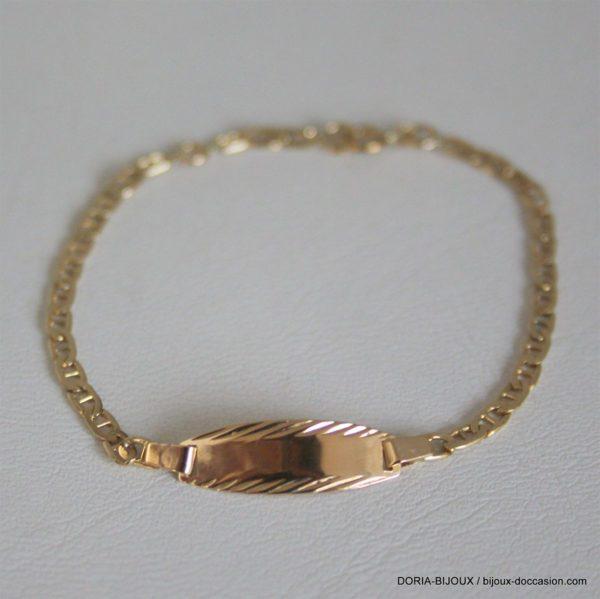 Bracelet Or 18k 750 Identité Bébé Marine - 2grs
