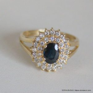 Bague Vintage Or 750 Saphirs & Diamants 4.9grs -56