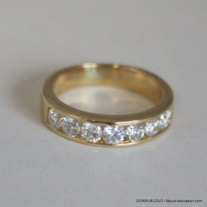 Bague Or 18k Demi Alliance Diamants 1.05ct- 5grs -53