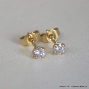 Boucles D'oreilles Or Jaune 18k Clous Diamants