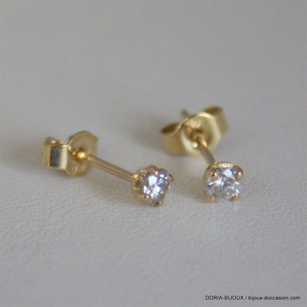 Boucles D'oreilles Or Jaune 18k Clous Diamants