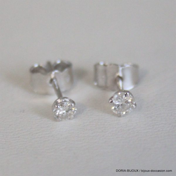 Boucles D'oreilles Or Gris 18k 750 Clous Diamants