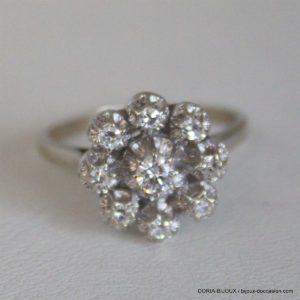 Bague Or 18k 9 Diamants 0.35cts- 3.5grs -54