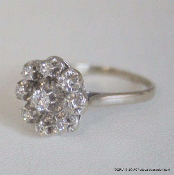 Bague Or 18k 9 Diamants 0.35cts- 3.5grs -54