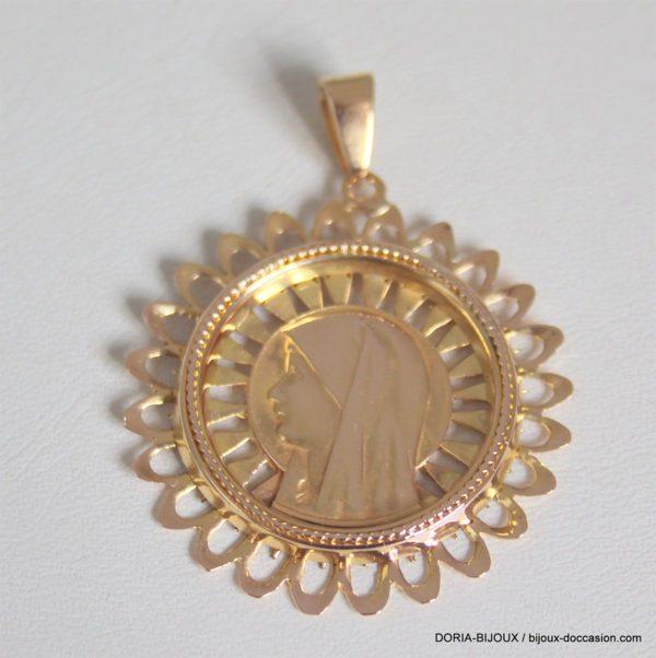 Pendentif Or Religieux Vierge 18k 750 - 6.58grs