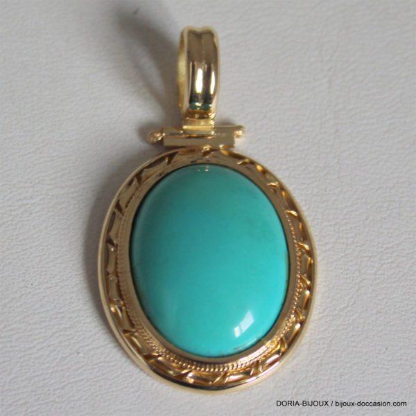 Pendentif Or Jaune 18k 750 Turquoise 9.6grs
