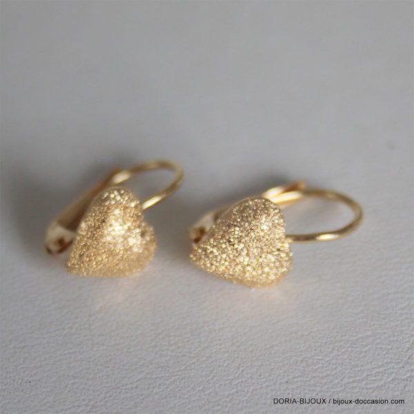 Boucles D 'oreilles Coeur Or 18k 750- 1.2grs