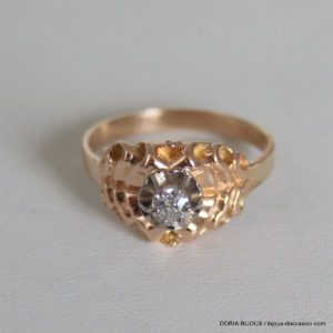 Bague Vintage Solitaire Or 750 Diamant 0.18ct 3.2grs